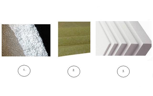 В качестве утеплителя в такой системе (рис А) может применятся: минеральная вата (рис2), пенопласт (рис1), экструдированный пенополистирол (ЭППС, рис3).