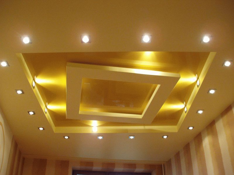 Фото кухонного потолка из гипсокартона.