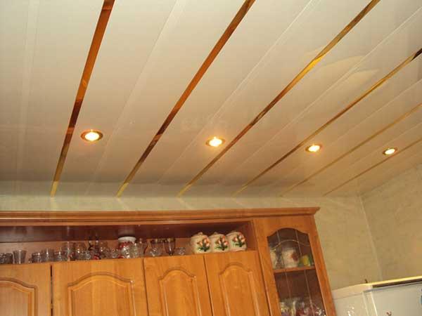 Фото отделки пластиком кухонного потолка.