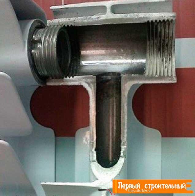 Фото биметаллического радиатора в разрезе.